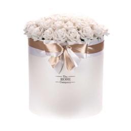 Forever Roses Jumbo Κουτί Λευκό Με Λευκά Τριαντάφυλλα (50cm)