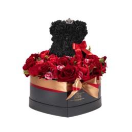 Forever Roses Large Μαύρο Κουτί Καρδιά Με Κόκκινα Τριαντάφυλλα Και Μαύρο Toyflower