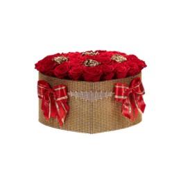 Forever Roses Large Princess Χρυσό Κουτί Καρδιά Με Κόκκινα & Χρυσά Τριαντάφυλλα