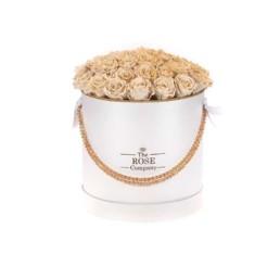 Forever Roses Large Λευκό Κουτί Jewellery Με Nude Glitter Τριαντάφυλλα
