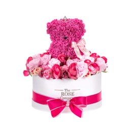 Forever Roses Large Λευκό Κουτί Με Mixed Ροζ Τριαντάφυλλα Και Φούξια Toyflower