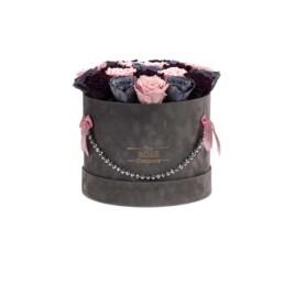 Forever Roses Medium Γκρι Κουτί Jewellery Με Mixed Γκρι & Ροζ Τριαντάφυλλα
