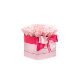 Forever Roses Medium Ροζ Κουτί Καρδιά Με Ροζ Τριαντάφυλλα