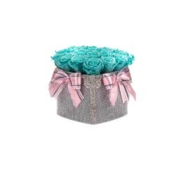 Forever Roses Medium Princess Ασημί Κουτί Καρδιά Με Tiffany Blue Τριαντάφυλλα
