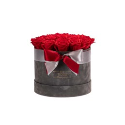 Forever Roses Medium Velvet Γκρι Κουτί Με Κόκκινα Τριαντάφυλλα