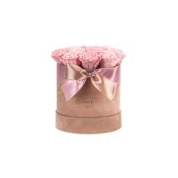 Forever Roses Midi Nude Velvet Κουτί Με Ροζ Τριαντάφυλλα