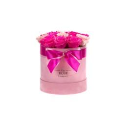 Forever Roses Midi Ροζ Velvet Κουτί Με Ροζ & Φούξια Τριαντάφυλλα