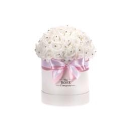 Forever Roses Midi Λευκό Κουτί Λευκό Τριαντάφυλλα Με Swarovski Crystals