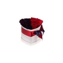Forever Roses Small Κουτί Καρδιά Λευκό Κουτί Με Κόκκινα & Μοβ Τριαντάφυλλα