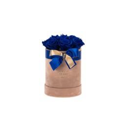 Forever Roses Small Nude Velvet Κουτί Με Royal Blue Τριαντάφυλλα