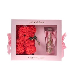 Toyflower Kit Let's Celebrate Limited Edition Small Size Toyflower Red & Pink Glam Champagne
