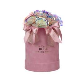 Small Artificial Diamond Roses Velvet Pink Box