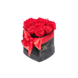 Forever New Small Heart Shaped Black Velvet Box With Red Roses