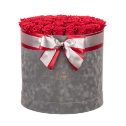 Forever Jumbo Velvet Pink Box With Gold And Red Roses