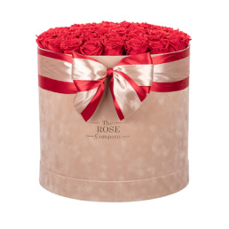 Forever Jumbo Velvet Grey Box With Red Roses