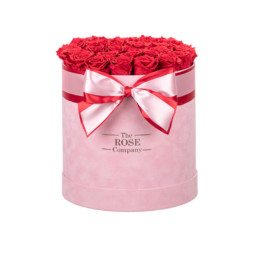 New XL Box Forever Pink Velvet Box With Red Roses
