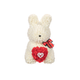 "Toyflower New Limited Bunny White With Red Heart ""I Love You"""