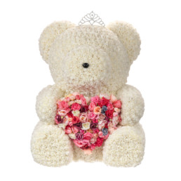 Toyflower Giant 80cm White With Floral Heart Limited Edition