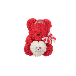 "Toyflower New Limited Teddy Red With White Heart ""I Love You"" (Box Included)"