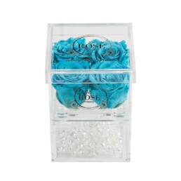 Clear Collection Small Hidden Storage Box Με 4 Tiffany Blue Forever Roses