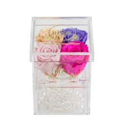Clear Collection Small Hidden Storage Box Με 4 Forever Roses (ανάμικτο  Ροζ
