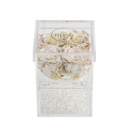 Clear Collection Small Hidden Storage Box Με 4 Λευκό Pearl Forever Roses