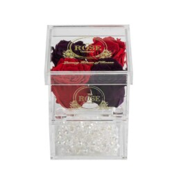 Clear Collection Small Hidden Storage Box Με 2 Μοβ & 2 Κόκκινα Forever Roses