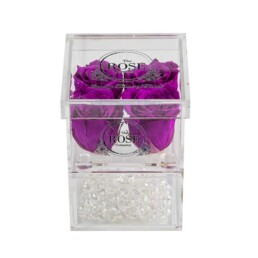 Clear Collection Small Hidden Storage Box Με 4 Μοβ Forever Roses
