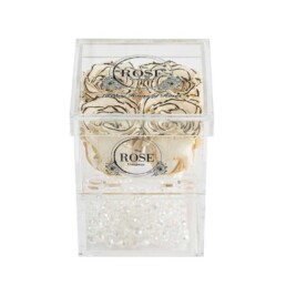 Clear Collection Small Hidden Storage Box Με 4 Λευκά Obré Forever Roses
