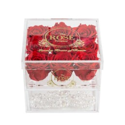 Clear Collection Medium Hidden Storage Box Με 6 Κόκκινα Forever Roses