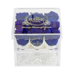 Clear Collection Medium Hidden Storage Box Με 6 Royal Blue Roses
