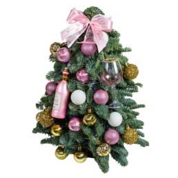 Αληθινό Στολισμένο Χριστουγεννιάτικο Δέντρο «Nordmann» Σε Ροζ 40cm