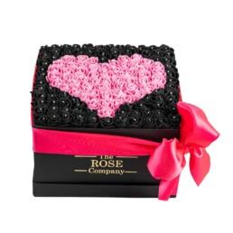 Forever Classic Medium Μαύρο Κουτί Με Μαύρα Τριαντάφυλλα & Ροζ Καρδιά