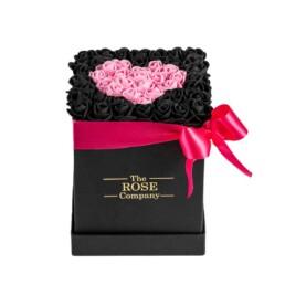 Forever Classic Small Μαύρο Κουτί Με Μαύρα Τριαντάφυλλα & Ροζ Καρδιά