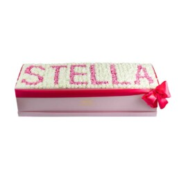 Forever Classic XXL Λευκό Κουτί Με Λεύκα Τριαντάφυλλα & Ροζ Γράμματα