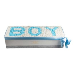 Forever Classic XXL Λευκό Κουτί Με Λευκά Τριαντάφυλλα & Μπλε Τριαντάφυλλα Με Γράμματα «BOY» (μέχρι 5 νούμερα η γράμματα)