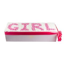 Forever Classic XXL Λευκό Κουτί Με Λεύκα Τριαντάφυλλα & Ροζ Τριαντάφυλλα Με Γράμματα «Girl» (μέχρι 5 νούμερα η γράμματα)